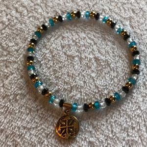 Rustic Cuff Sea Glass Bead Bracelet